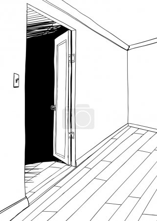 Outlined Illustration of Empty Room