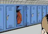 Person Looking at Empty Locker