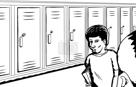 Outline of Students Near Lockers