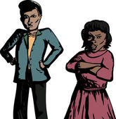 Cartoon of pair of annoyed Hispanic adults