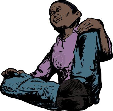 Low Angle of Meditating Man