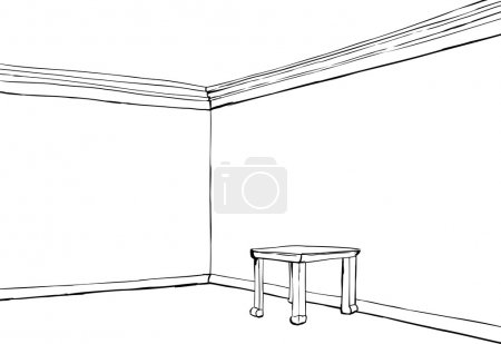 Illustration for Empty room with white walls and little table - Royalty Free Image