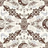 Seamless pattern with doodle moons and hamsa symbols