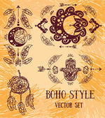 set of hand drawn illustrations in tribal illustration