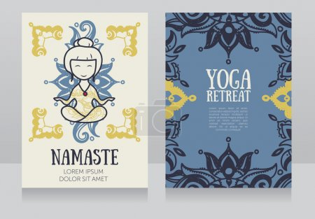 cards template for yoga retreat or yoga studio,