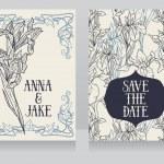 Постер, плакат: Beautiful floral wedding cards in art deco retro style with irises flowers