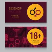 Design template business card for sex shop vector illustration