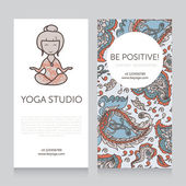 Paisley design template for yoga studio business card vector illustration
