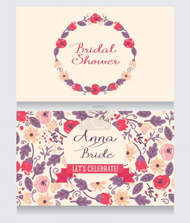 Illustration for Bridal Shower invitation card, beautiful floral design, vector illustration - Royalty Free Image