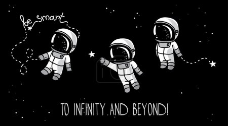 Illustration for Three cute hand drawn astronauts with stars on starry sky background, cosmic vector illustration - Royalty Free Image