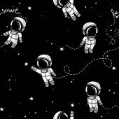 Cosmic seamless pattern cute doodle astronauts floating in space vector illustration