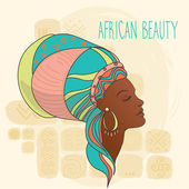 Beautiful African American woman on ethnic background vector illustration