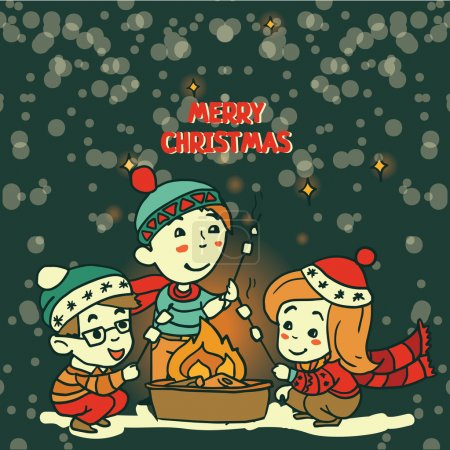 Christmas greeting card with cute doodle kids