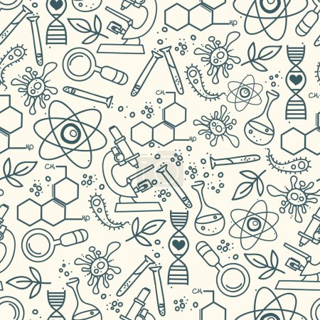 Seamless pattern for science in hand drawn doodle style