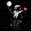 Cute doodle astronaut and heart, cosmic card for valentine's day, vector illustration