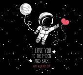 Cute doodle astronaut and heart cosmic card for valentine's day vector illustration
