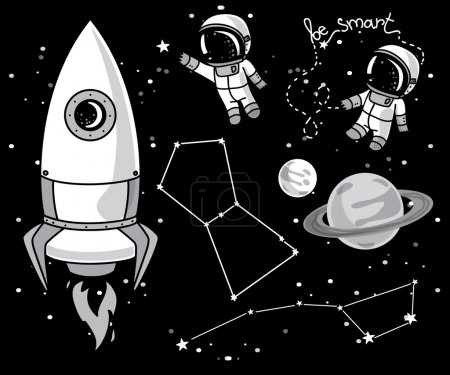 Illustration for Cute hand drawn elements for cosmic design: planets, constellations, astronauts floating in space and rocket, vector illustration - Royalty Free Image