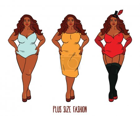 Illustration for Beautiful African american woman with curves, plus size model in three looks, vector illustration - Royalty Free Image