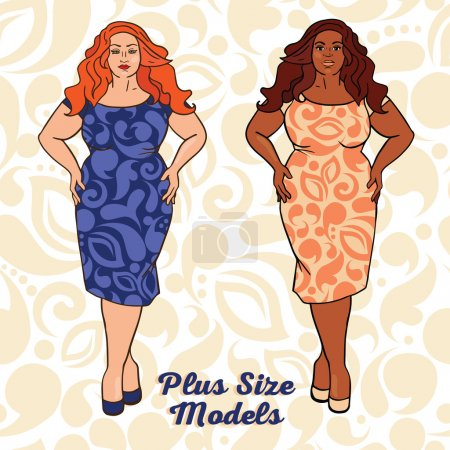 Illustration for Two different nation ladies in cocktail dresses, plus size models, vector illustration - Royalty Free Image