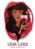 Beautiful woman with glass of wine wine card cover vector illustration