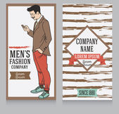 Advertising banner in retro american style trendy hipster can be used as business cards for old fashioned man's shop vector illustration