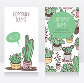 Business card design with smiling potted plants