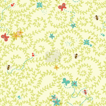 Floral pattern with bees ans butterflies