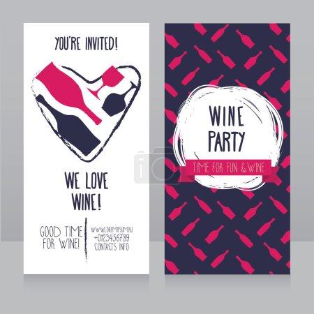 Illustration pour Invitation pour la fête du vin, peut être utilisé comme modèle pour la carte de visite de la boutique de vin, design géométrique coloré, illustration vectorielle - image libre de droit