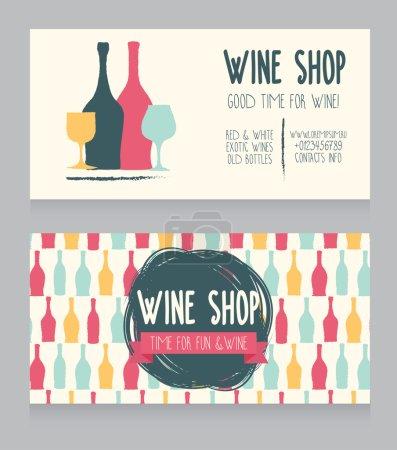 Illustration pour Modèle pour la carte de visite de la boutique de vin, design coloré dessiné à la main, peut être utilisé comme invitation pour la fête du vin ou comme couverture pour la carte de vin, illustration vectorielle - image libre de droit