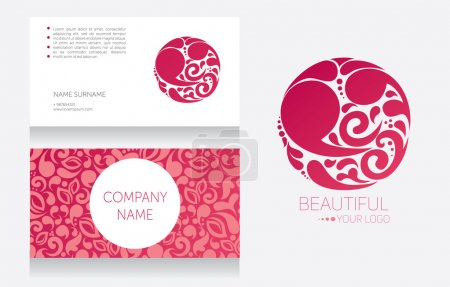 Illustration for Business card template and template for your logo, beautiful vignette design, vector illustration - Royalty Free Image
