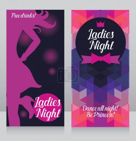 Illustration for Template for ladies night party invitation, cards for night club with woman's silhouette, vector illustration - Royalty Free Image