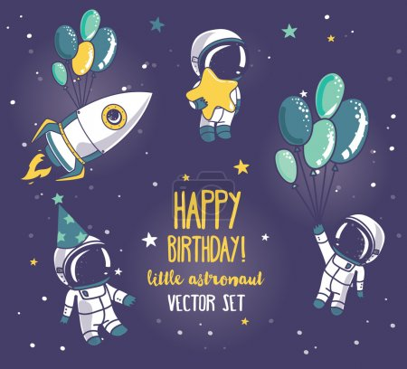Set of cute astronauts and rocket in space for birthday party in cosmic style