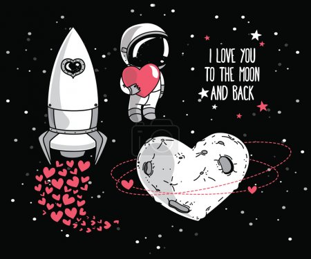 Illustration for Set of cute hand drawn elements for valentine's day design: heart formed planet in retro style, astronaut with heart and rocket, cosmic vector illustration - Royalty Free Image