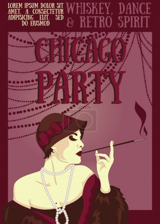 Smoking woman in retro style on Chicago party poster