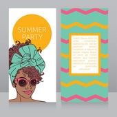 Template for summer night party banners with beautiful african american girl vector illustration
