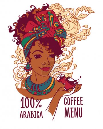 banner with beautiful african american woman and coffee cups