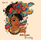 Beautiful African American woman on beautiful ornament vector illustration