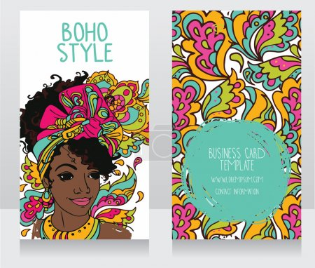 Cards for boho style with beautiful African American woman
