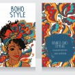 Cards for boho style with beautiful African Americ...