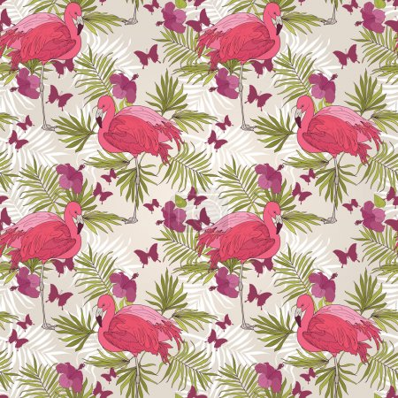 Seamless pattern with flamingo,  tropical flowers, palm leaves and butterflies