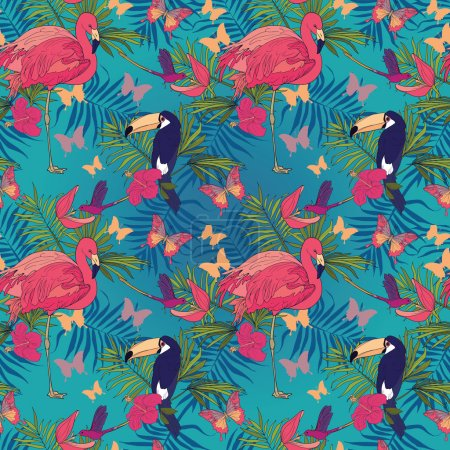 Seamless pattern with tropical birds and flowers