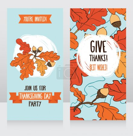 Illustration for Greeting cards for thanksgiving day, cute party invitations, vector illustration - Royalty Free Image