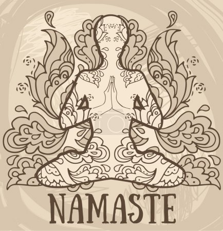 namaste banner, human in lotus asana with paisley ornament