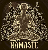 namaste banner human in lotus asana with paisley ornament