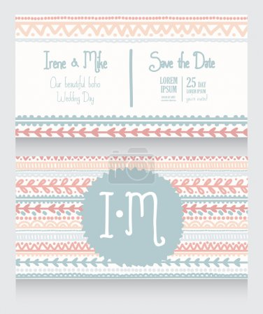 two wedding invitation cards for boho style