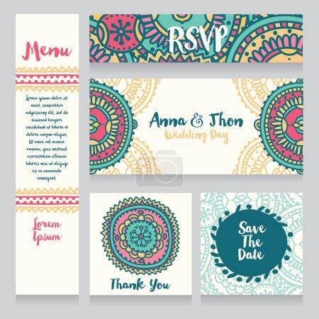 set of wedding design in boho style
