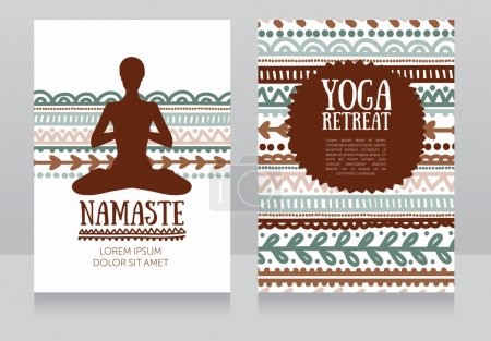 cards template for yoga retreat or yoga studio
