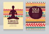 Cards template for yoga retreat or yoga studio can be used for Hinduism religious organization vector illustration