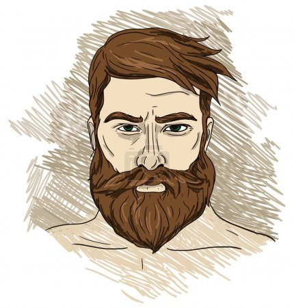 Illustration for Portrait of imposing man with beard, vector illustration - Royalty Free Image