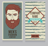 Advertising banner in retro american style trendy man with beard can be used as business cards for old fashioned man's shop vector illustration